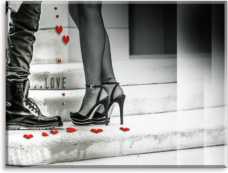 Home Wall Art Décor of Love Couple on The Stairs, The High-Heeled Shoes and Red Heart Canvas Prints with Gray Background, Romantic Home Paintings (Waterproof Artwork, Bracket Mounted Ready to Hang)