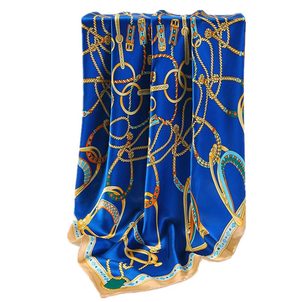 bluee Women Lady Girl Silk Scarf Spring Summer and Autumn Satin Silk Print Long Scarf European and American Style Party Lightweight Scarf (color   bluee)