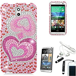 [STOP&ACCESSORIZE] PINK GROOVY HEARTS PLASTIC COVER RHINESTONE HARD CASE for HTC DESIRE 610 + FREE ACCESSORIES