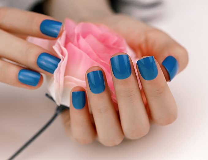 ArtPlus 3 Boxes of 24pcs Blue False Nails French Manicure Full Cover Sports Medium Length with Adhesive Tabs Pressed On and Glue Fake Nails: Amazon.es: ...