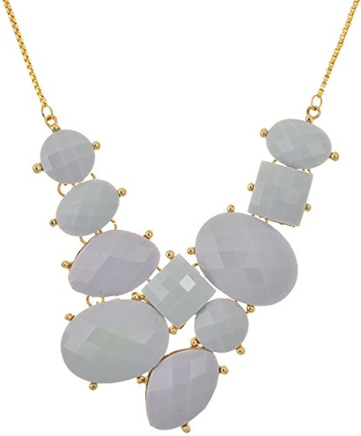 SUBHARPIT Grey Crystal Golden Statement Necklace for Women /& Girls
