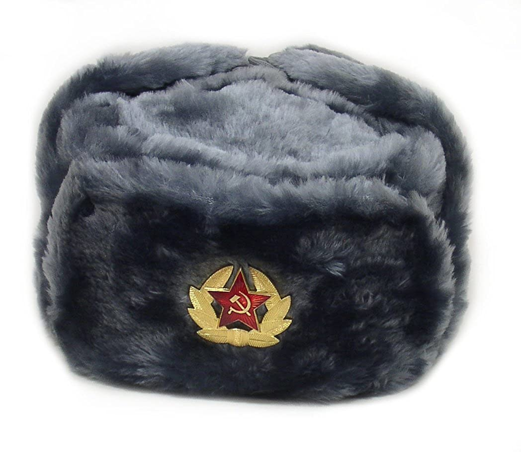 Authentic Russian Ushanka Gray Military Hat w/ Soviet Red Army Badge * Size Small*