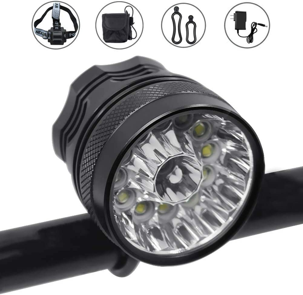 WasaFire Bike Light,6000 Lumens 5 LED Bicycle Light,Waterproof Mountain Bicycle Front Light with 6400mAh Rechargeable Battery Pack,3 Modes Bike Front Headlamp for Cycling Safet