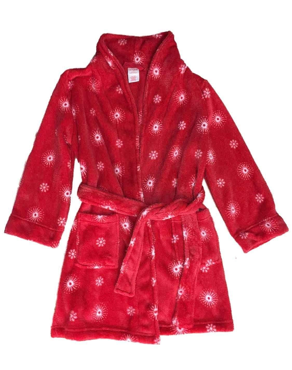 Robe Girls Red Luxe Fleece Winter Snowflakes Red Bathrobe