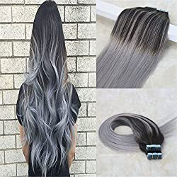 """HairDancing 18"""" 50g 20 Pcs Tape In Human Hair Extensions PU Skin Hair Weft Balayage Ombre Color #2 Black Brown to Silver Grey and #2 Ombre Real Human Hair Extensions"""