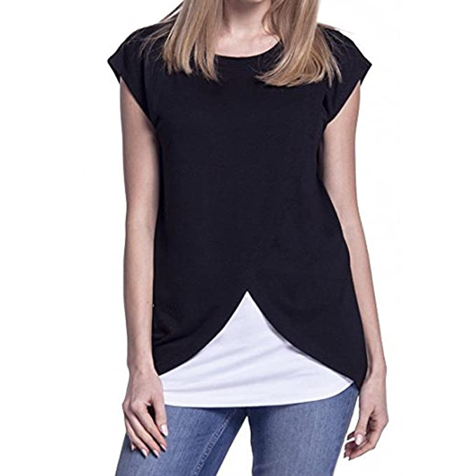 6f0ec40871a11 Luonita Womens Basic Tee Fake Two Pieces Color Block Front Split Pull-up  Nursing Tank Tops at Amazon Women's Clothing store: