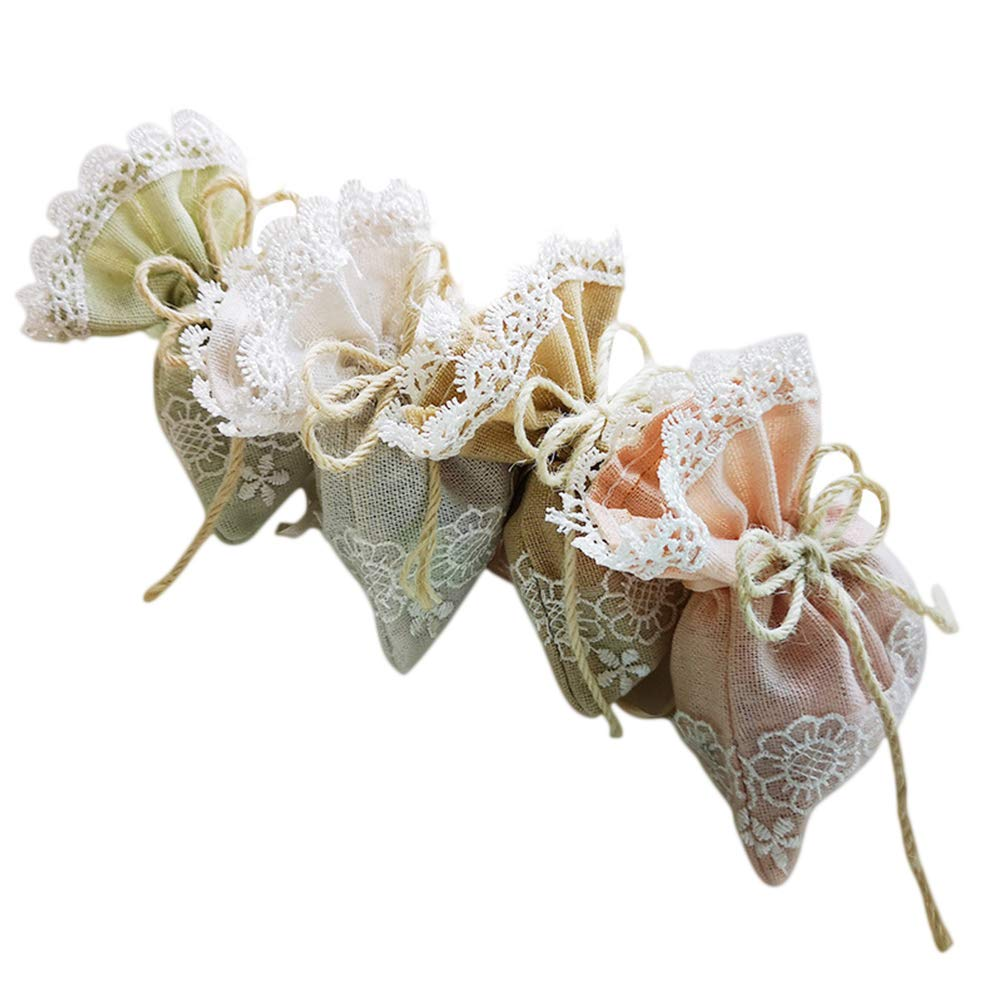 Vosarea Drawstring Linen Gift Bags Candy Pockets Storage Bags for Wedding Favor Gift 10Pcs