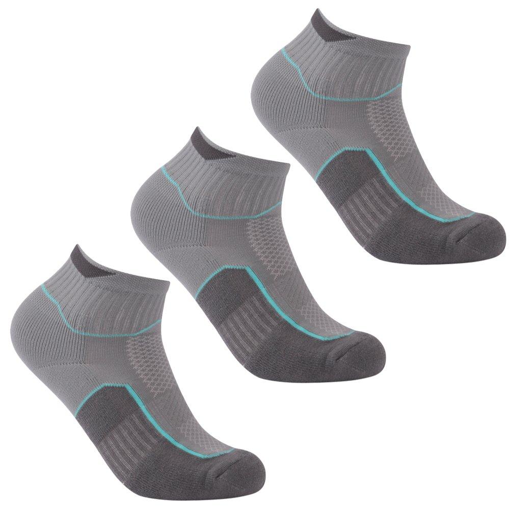 Luccalily Running Socks, Men's Women's Ankle Moisture Wicking Dry Fit Socks,Low Cut Running Socks,Antiblister Wicking Short Training Gym Socks 3 Pairs Gray,Medium