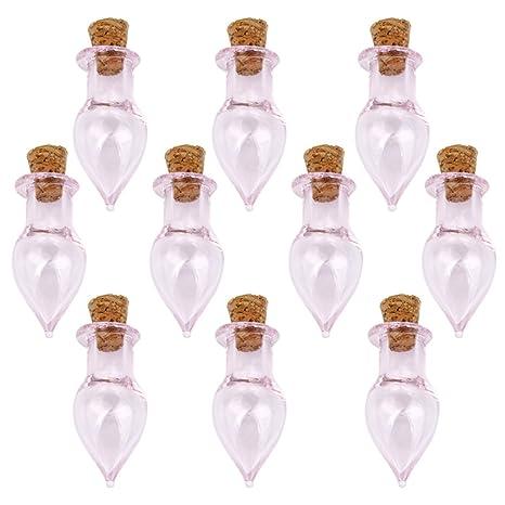 Mini Vidrio Botella Corcho Lágrima Cae Frascos Viales Desean Amor Botella 10pc Nota De Color Rosa