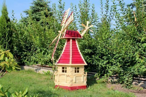 Large Wooden Windmill 1.40 m with Solar Type 15 - Red, 1,40 m Holzdekoladen
