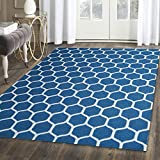 Superior Honeycomb Wool Rug, 100% Wool Pile with Cotton Backing, Hand Tufted Luxury Rug, Contemporary Geometric Trellis Pattern – Teal & Ivory, 5′ x 8′