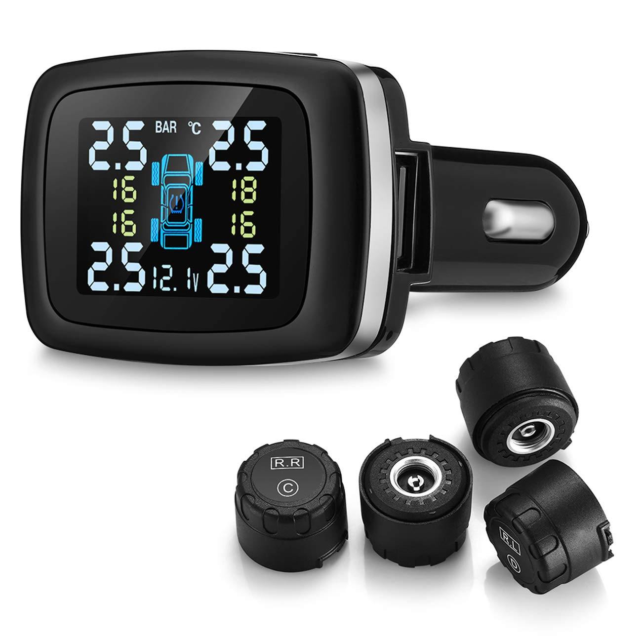 Beipuit Wireless Tire Pressure Monitoring System (TPMS), with 4 External Cap Sensors (Cigarette Lighter Plug with 5V/1.5A Charging) by Beipuit