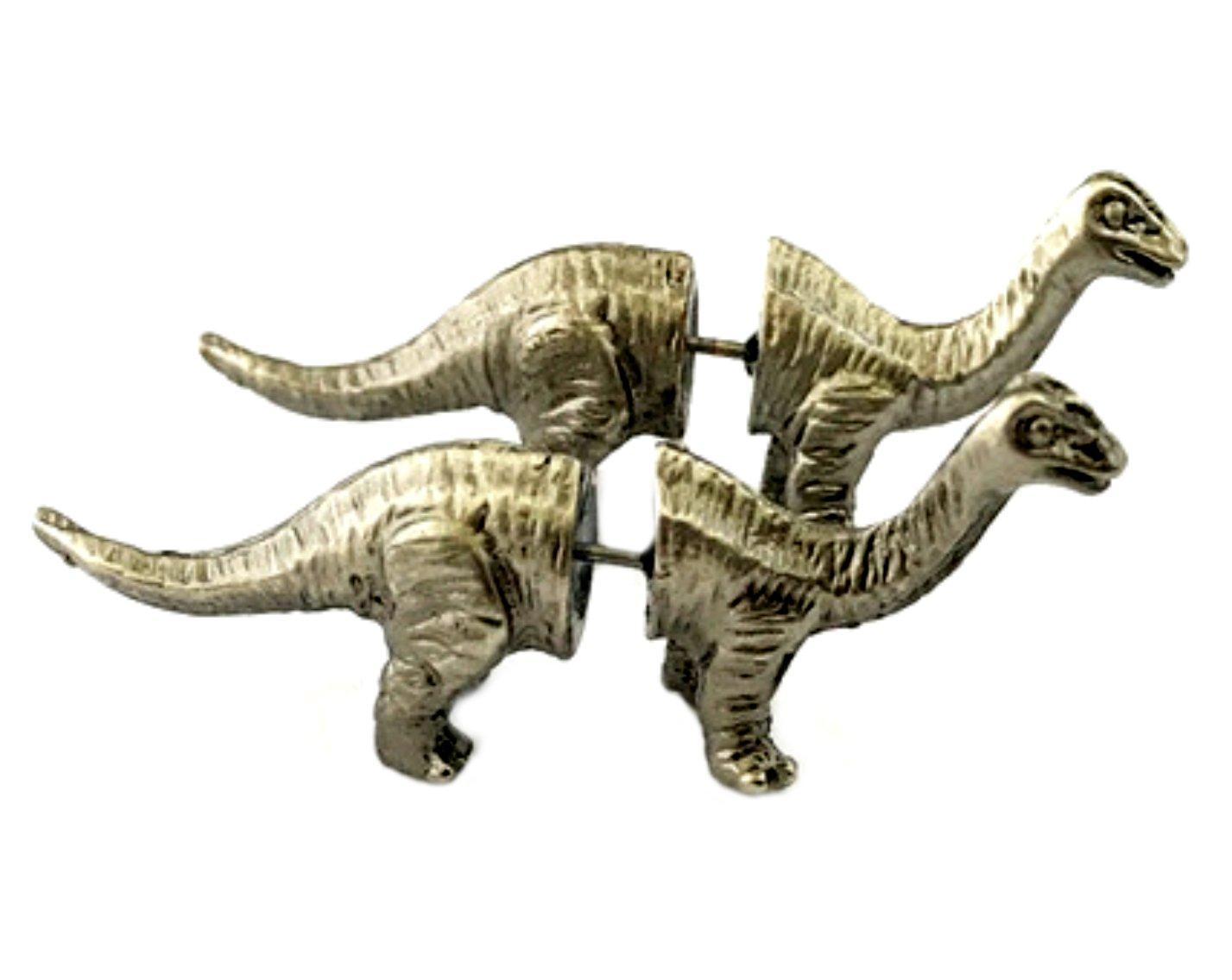 Brontosaurus Dinosaur Premium Quality Silvertone Post Stud Earrings