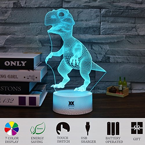 Children Gift Dinosaur 3D Visual Illusion Night Light Xmas Chirstmas Halloween Birthday Gift Baby Nursery Bedroom Theme Table Decor Night Lamps Light for Boys Kids by HUI YUAN (Dinosaur)
