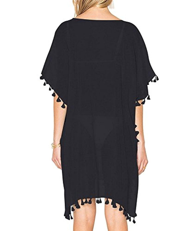 Black Beach Dress Cover Up Kaftan Sarong Summer Wear Swimwear Women Uk