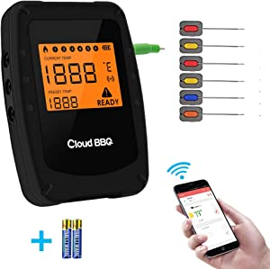 Wireless Meat Grill Thermometer Bluetooth Adapter for iOS&Android, Digital Wireless Thermometer,Meat Thermometer Bluetooth for Smokers,Kitchen Grilling,Oven and Outdoor BBQ (Black-6 probes)