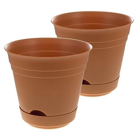 Amazon 2 self watering planters indooroutdoor 7 plastic patio 2 self watering planters indooroutdoor 7 plastic patio garden flower herb pots workwithnaturefo