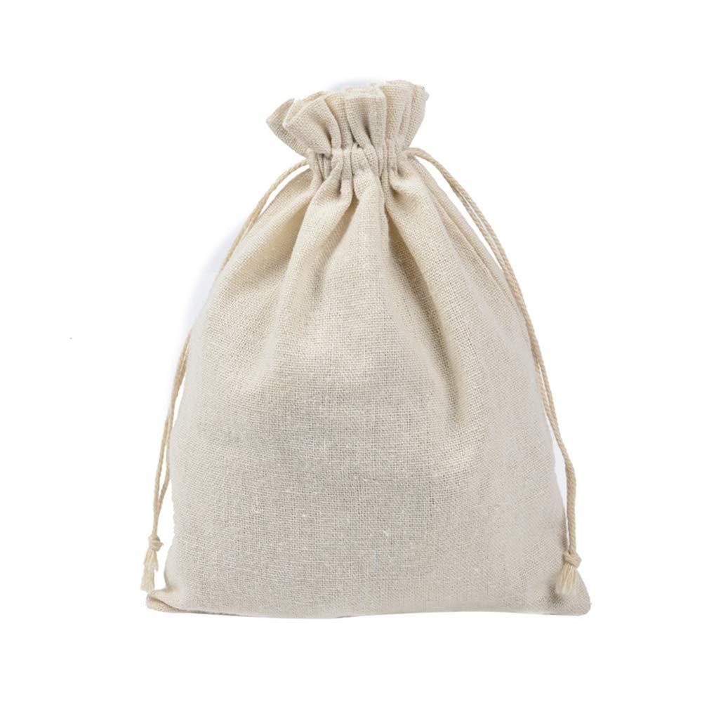 Aofocy Conjunto de Bolsas de algodón de 12 Piezas con racimos de 10x15 cm Beige.