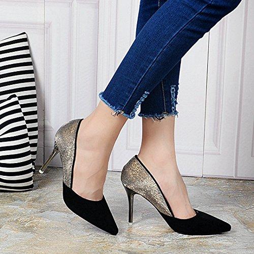 KHSKX-Otoño Zapatos De Tacon Alto De Moda Europea Y Americana De Color Nuevo Hechizo Frosted Zapatos De Mujer Zapatos De Tacon Fino La Cúspide Los ZapatosTreinta Y SeisBlack