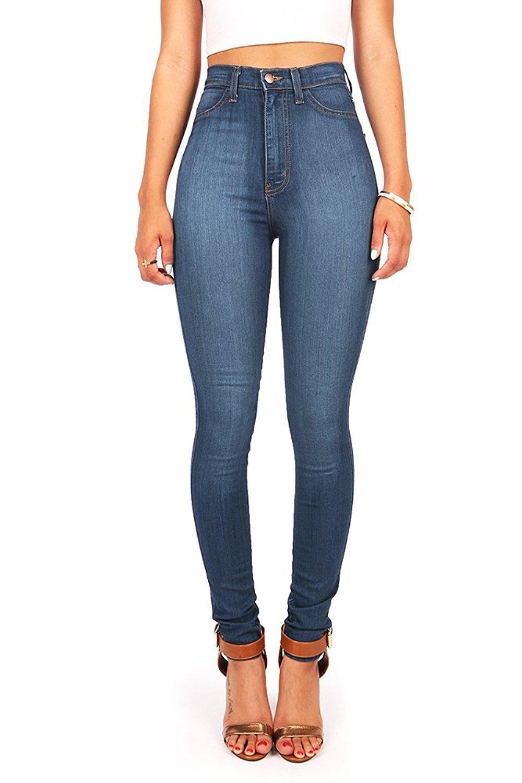 Vibrant Women's Classic High Waist Denim Skinny Jeans 3 Medium Denim