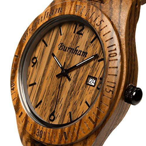 Burnham Wooden Watch - ARG001 Stylish Mens Wood Watches [Solid Natural Wood Grain] Upgraded Swiss Quartz Movement and Date [Easy set and adjust wood watch strap] Fine Crystal Face And Stainless Clasp by Burnham (Image #1)