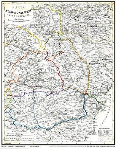 Historische Karte  Moldau Walachei Siebenbürgen Mit Bessarabien 1848  Plano   Basarabia Transsilvanien Ardeal Transilvania Erdély Moldova Siweberjen