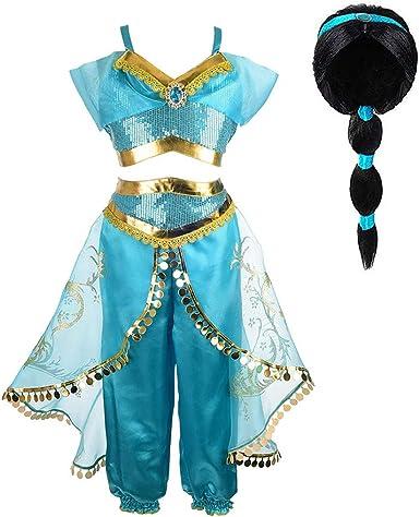 Aladdin Jasmine Disfraz para Niñas Adultos Princesa Arabian Dress ...
