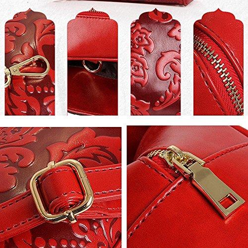 à à Sac Sac mode Sacs pour Loisirs Hobo red messager Cuir Crossbody cinese bandoulière Rétro in vintage Sac Imperméable à Voyager PU main stile la Tote de Femme Ricamo xTXYEqnw6d