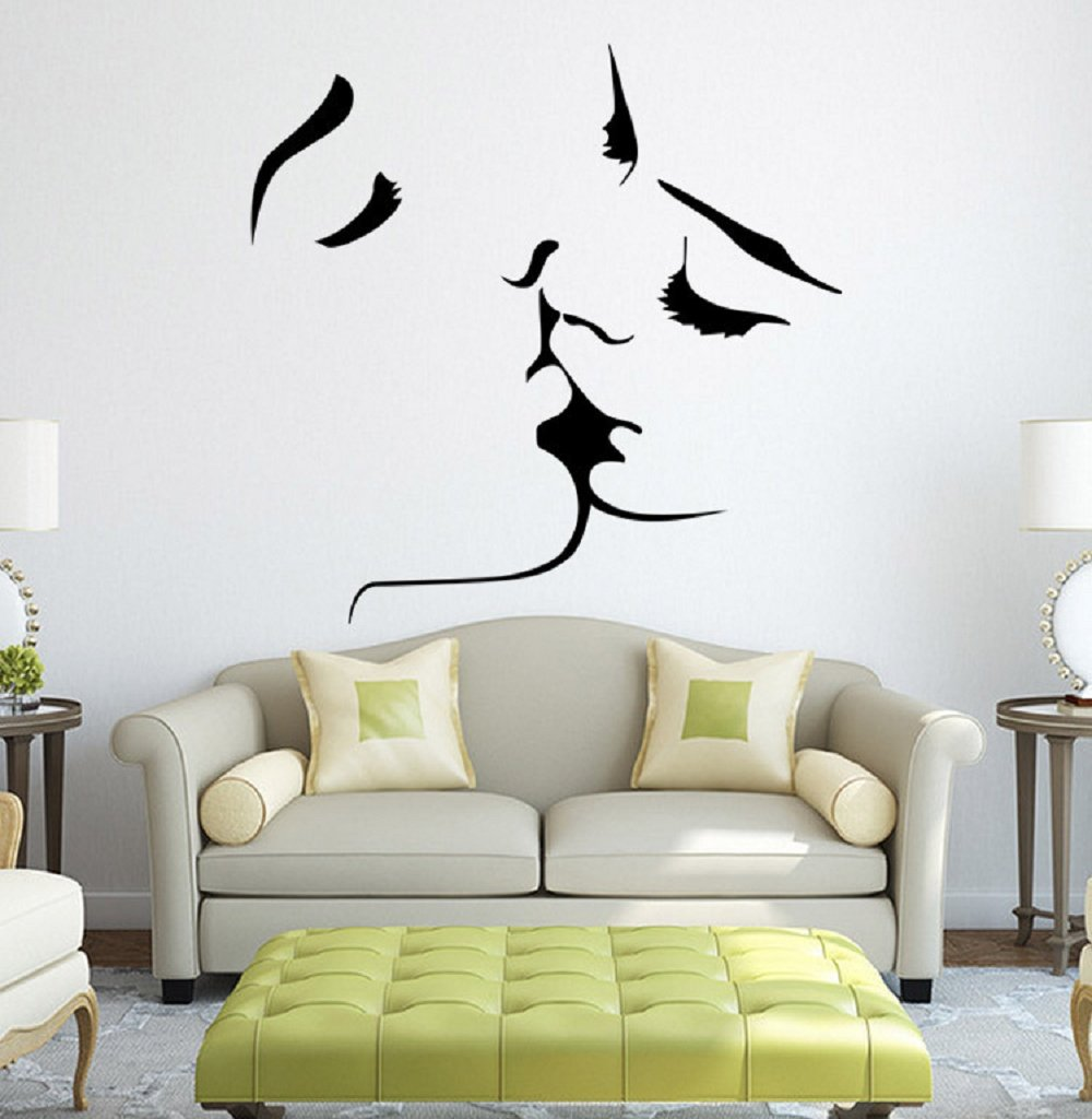 1MATCH Kiss Wall Murals for Living Room Bedroom Sofa Backdrop Tv Wall Background, Originality Stickers Gift, DIY Wall Decal Wall Decor Wall Decorations by 1MATCH (Image #8)