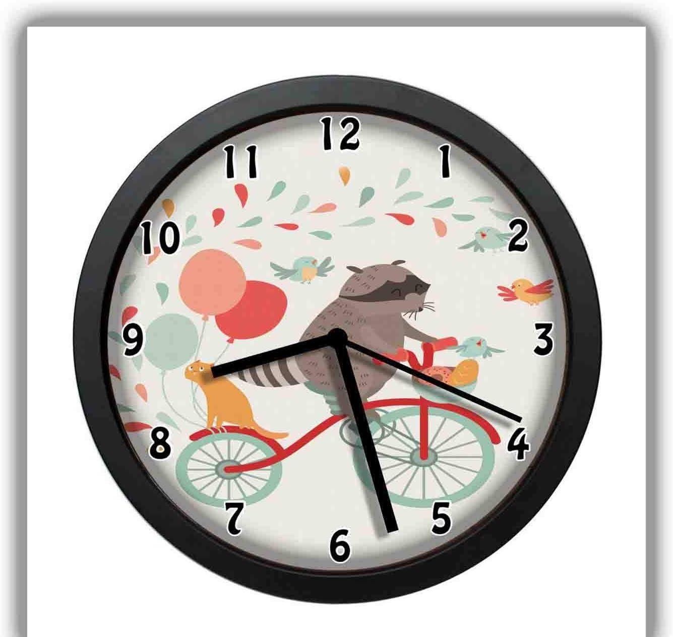Reloj de Pared con diseño de Mapache en Bicicleta con un Gato ...