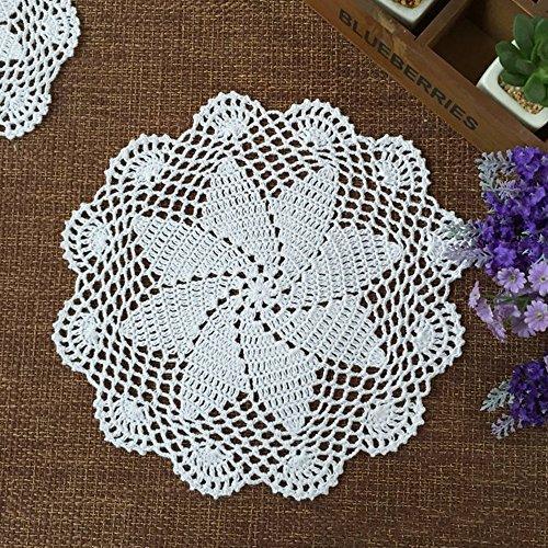 yazi Crochet Lace Cotton Doily Coasters 8-inch Round Set of 4 ()