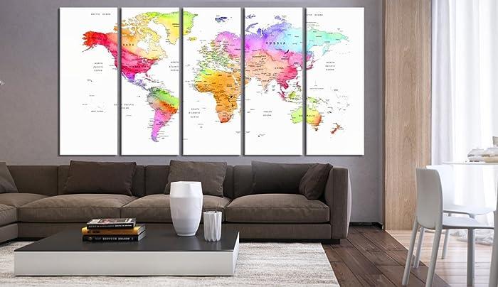 Amazon.com: 5 panel large World Map wall art print print set ...