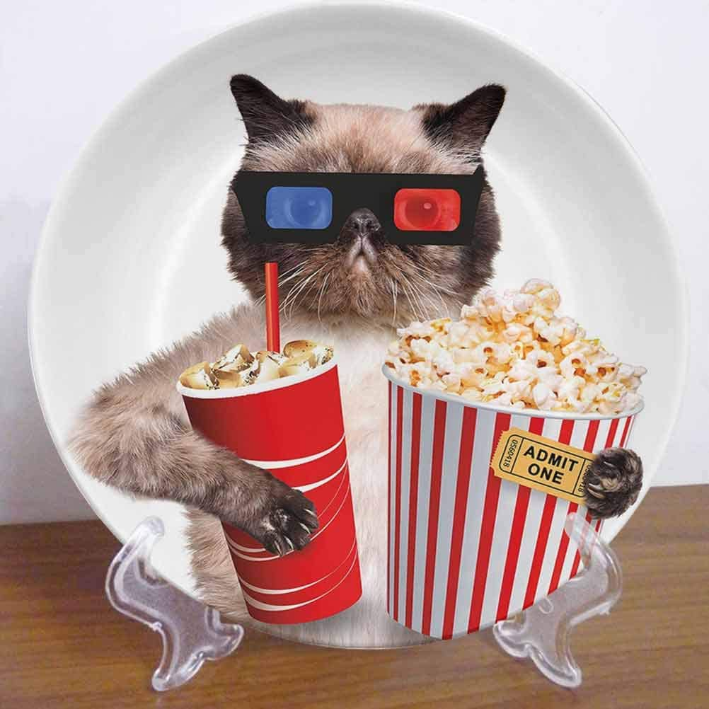 """Burton Edith Tablecloth 6"""" Movie Theater Decor Ceramic Decorative Plate Cat with Popcorn and Drink Watching Movie Glasses Entertainment Cinema Decor Accessory for Fine Dining, Parties, Wedding"""