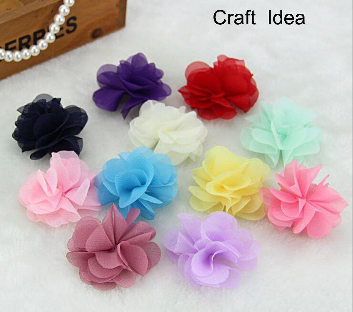 YYCRAFT 5cm 4 Yards Chiffon Flower Lace Ribbon Trim DIY Hair Accessories 2.5