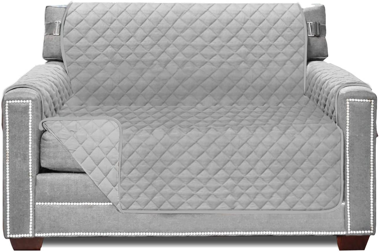 Sofa Shield Original Patent Pending Chair Slipcover, Many Colors, Seat Width to 48 Inch, Reversible Furniture Protector with Straps, Chairs Slip Cover Throw for Pets Dogs, Kids, Armchair, Light Gray