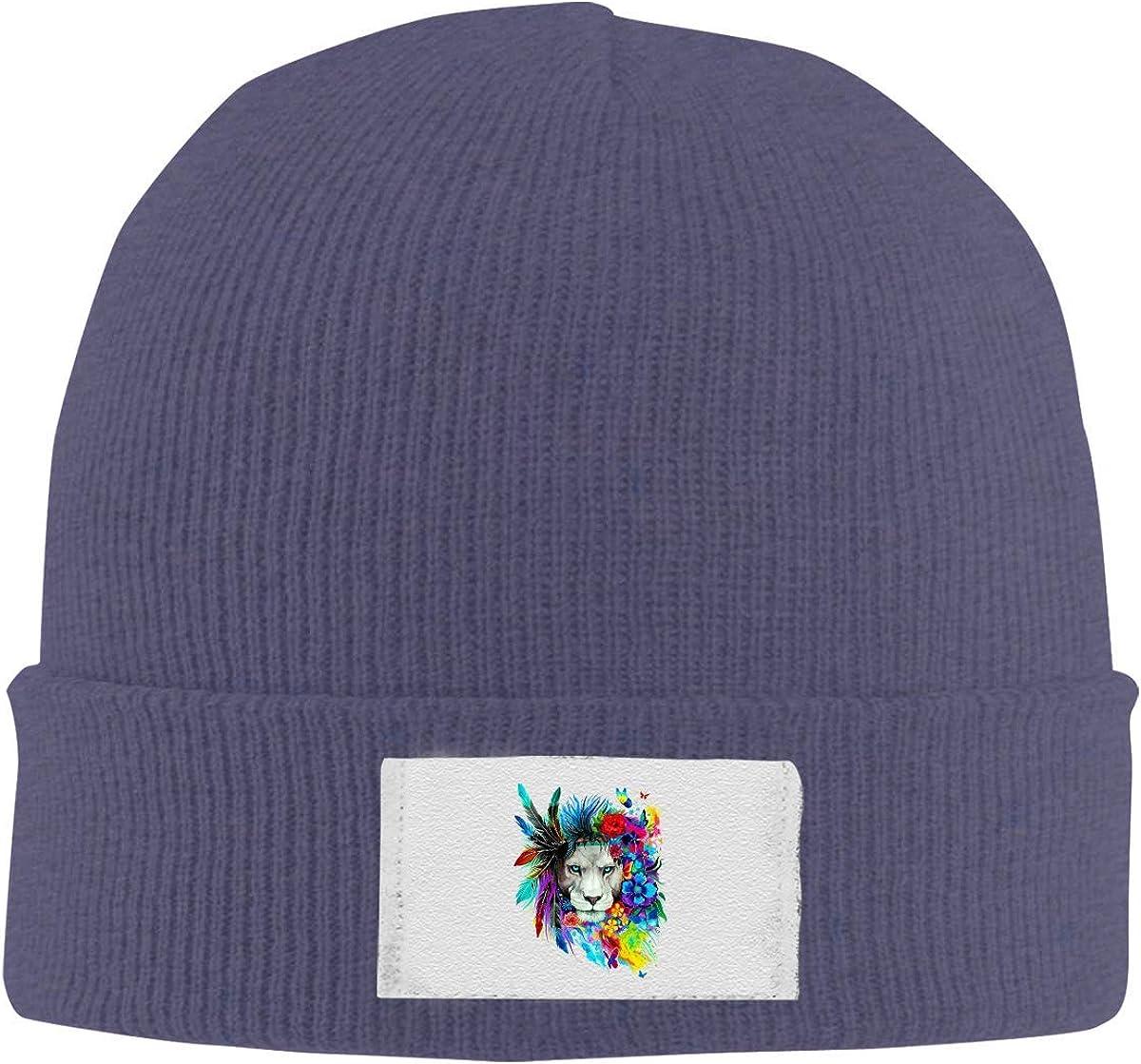 XCNGG Gorro Unisex, Sombrero clásico de Color sólido cálido con Cobertura de León de Plumas para Invierno Diario al Aire Libre