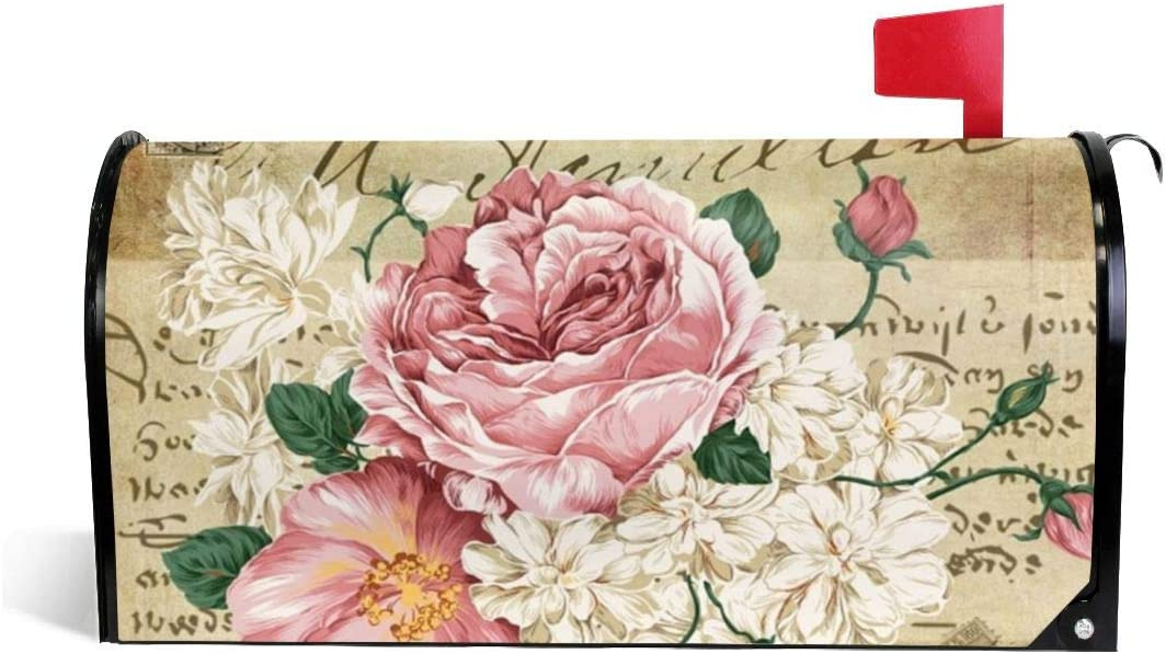 Foruidea Vintage Shabby Chic Pink Rose Floral Mailbox Covers Magnetic Mailbox Wraps Patriotic Post Letter Box Cover Standard Oversize 21 X 18 Makover MailWrap Garden Home Decor