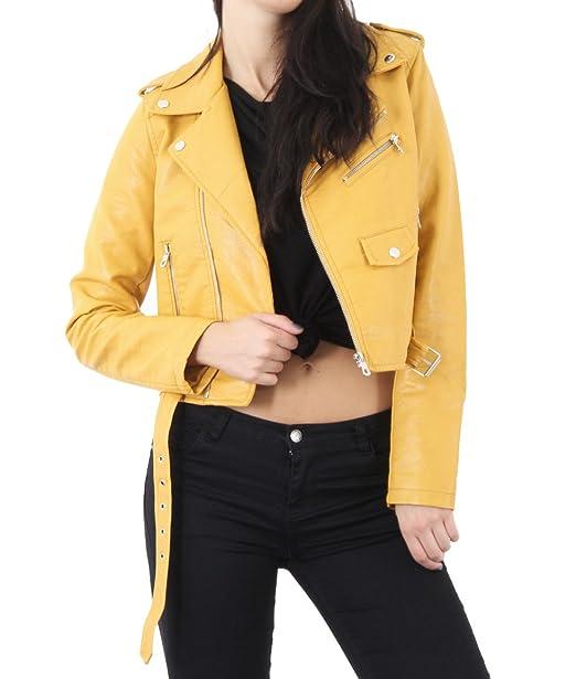 7 Fashion Road - Chaqueta - Biker - para mujer amarillo Mostaza 38