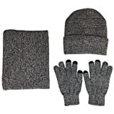 JOYEBUY Men 3 PCS Knitted Set Winter Warm Knit Hat + Scarf + Touch Screen Gloves (Grey)