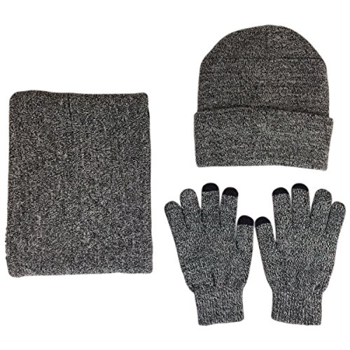 JOYEBUY Men 3 PCS Knitted Set Winter Warm Knit Hat + Scarf + Touch Screen Gloves (Grey) (Mens Gloves Hat Set And)