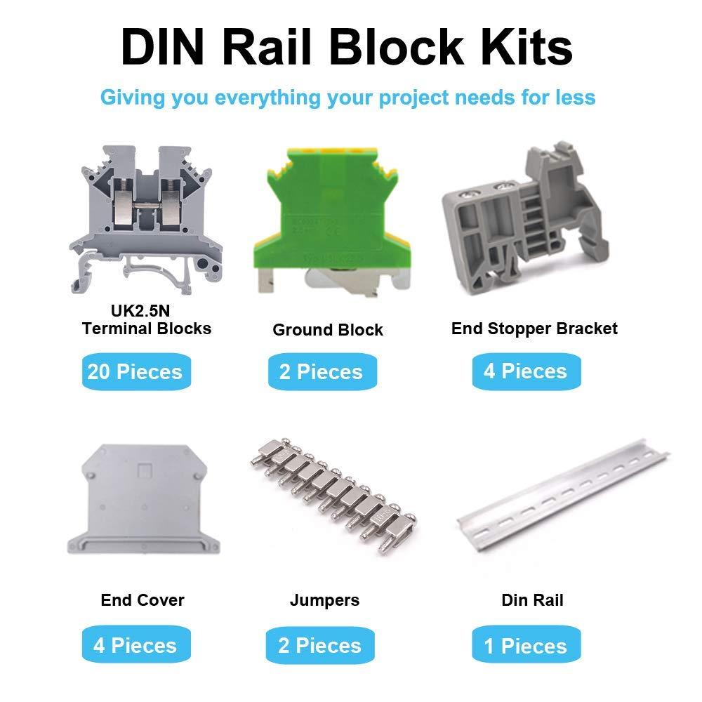 Summerwindy Vacarme Kit de Blocs de Jonction Rail Uk-2.5N Blocs de Jonction 12 Awg Mise /à Terre Cavaliers de Ponts Fixes Supports DExtr/émit/é E//Uk Uk-2.5Bg Rails en Aluminium de 8 Pouces
