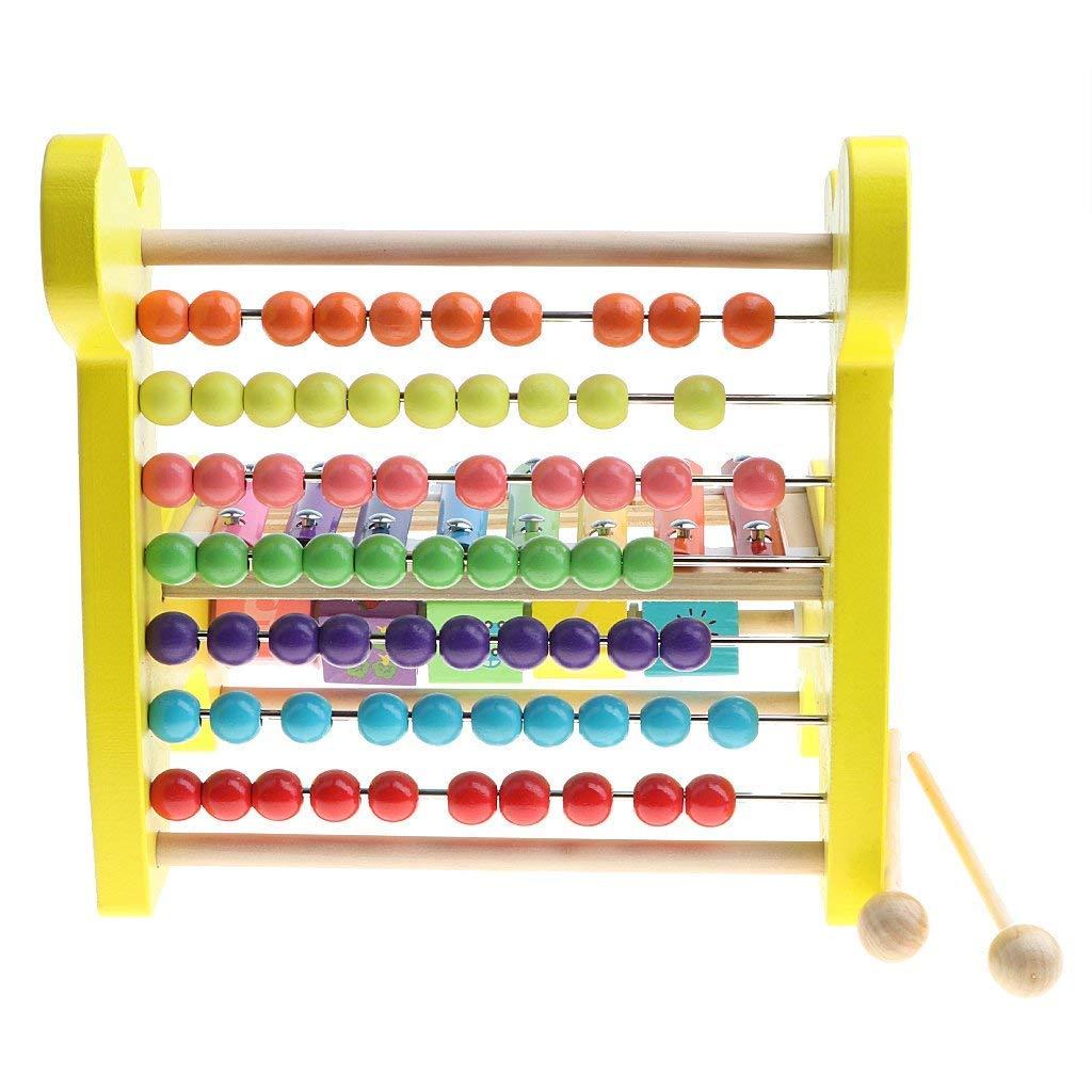 Backbayia Holz Fawn 3 in 1 Kinder Lernspielzeug mit Bunte Perlen Abakus Xylophon Anzahl Rollender Bl/öcke