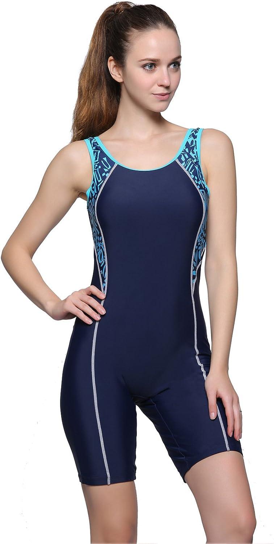 Ba/ñador de una pieza para mujer estilo atl/ético con cojines en caja azul 42 Swimwell