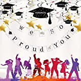 Graduation Party Banner-We Are So Proud Of You Banner for 2018 Congratulation Party Colorful Decor Tissue with Paper Pom Poms