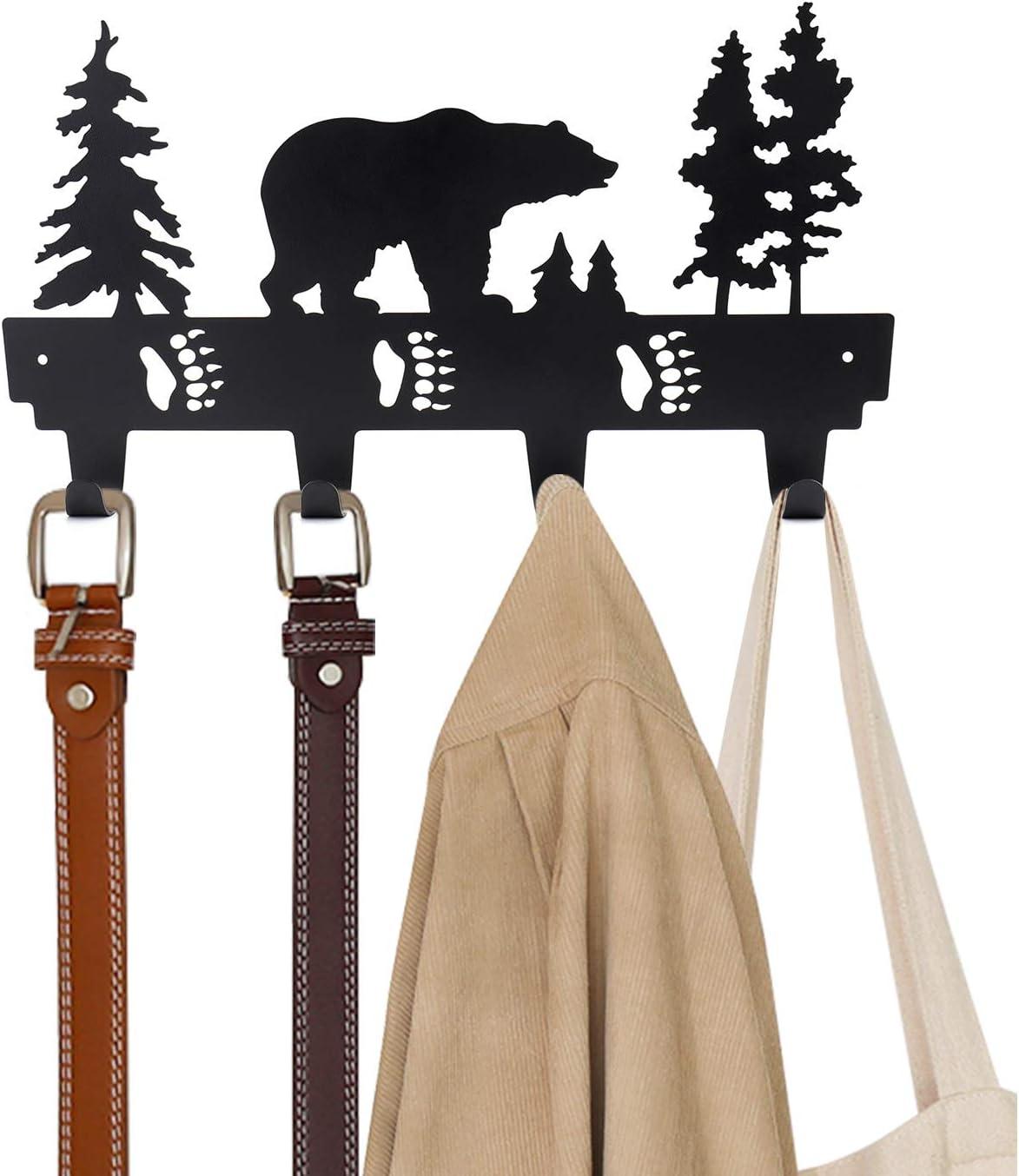 Suwimut Coat Hooks Wall Mounted, Metal Hook Hanger Rack for Bathrooms Door Hanging Key, Robe, Bag, Hats, Bear Pattern, 4 Hooks, Black