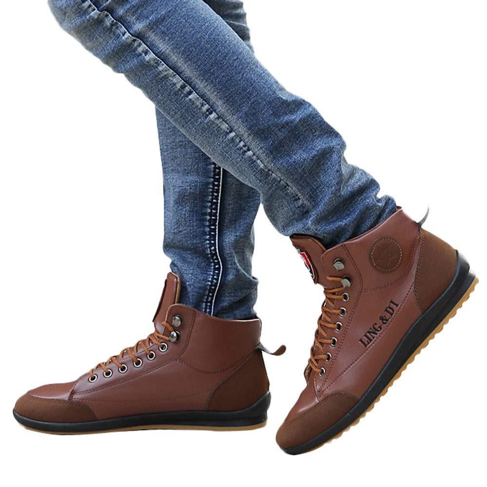 Zapatos Hombre Black Friday Casuales Invierno Zapatos para Hombres Botas de Cuero Zapatos Deportivos Casuales Zapatos Estilo Vintage de Estilo británico: ...