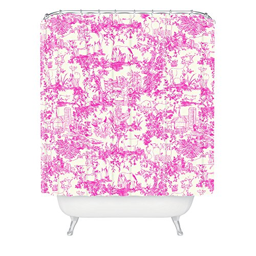Deny Designs 71 by 74-Inch Rachelle Roberts Farm Land Toile in Pink Shower Curtain, Standard