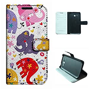 Galaxy G7100 Case,SoloShow® Samsung Galaxy Grand 2 Duos G7100 Case High Quality PU Leather and Magnetic Wallet Flip Case with Built-in Card Holder(cartoon lucky elephant)
