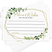 Advice and Wishes, 50 Cards, Gold Greenery Wedding Advice Cards, Bridal Shower Activity, Guestbook Alternative