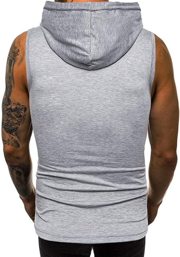 Appoi Men Clothes Mens Hooded Tank Tops Print Workout Sport Sleeveless Fitness Cool Vest Gym Muscle Hoodies